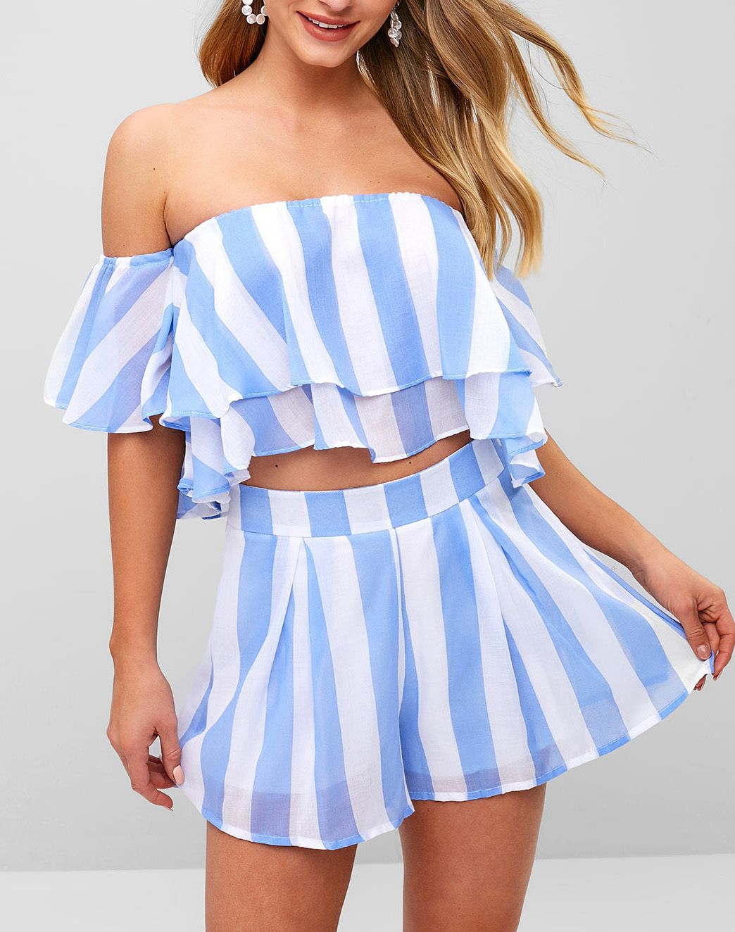 2eea1cc5ea Sweet baby blue summer outfits Off Shoulder Striped Layered Crop Top With  Shorts Occasion: Beach and Summer Style: Casual Fit Type: Regular  Collar-line: Off ...