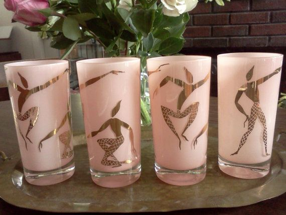 Groovy Frosted Pink Highball Glasses by BurnishedStories on Etsy