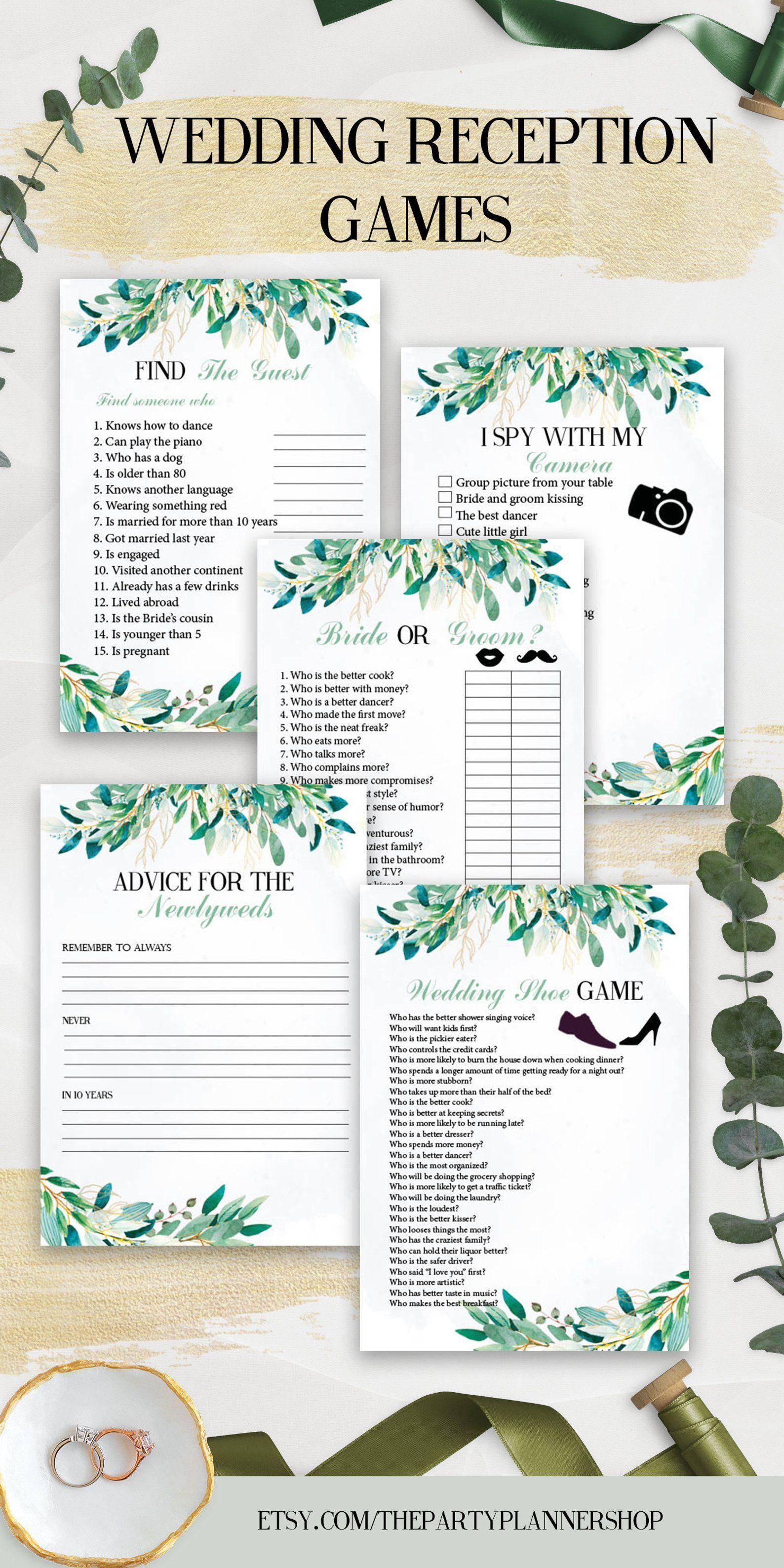 5 Wedding Reception Games, Printable Wedding Reception