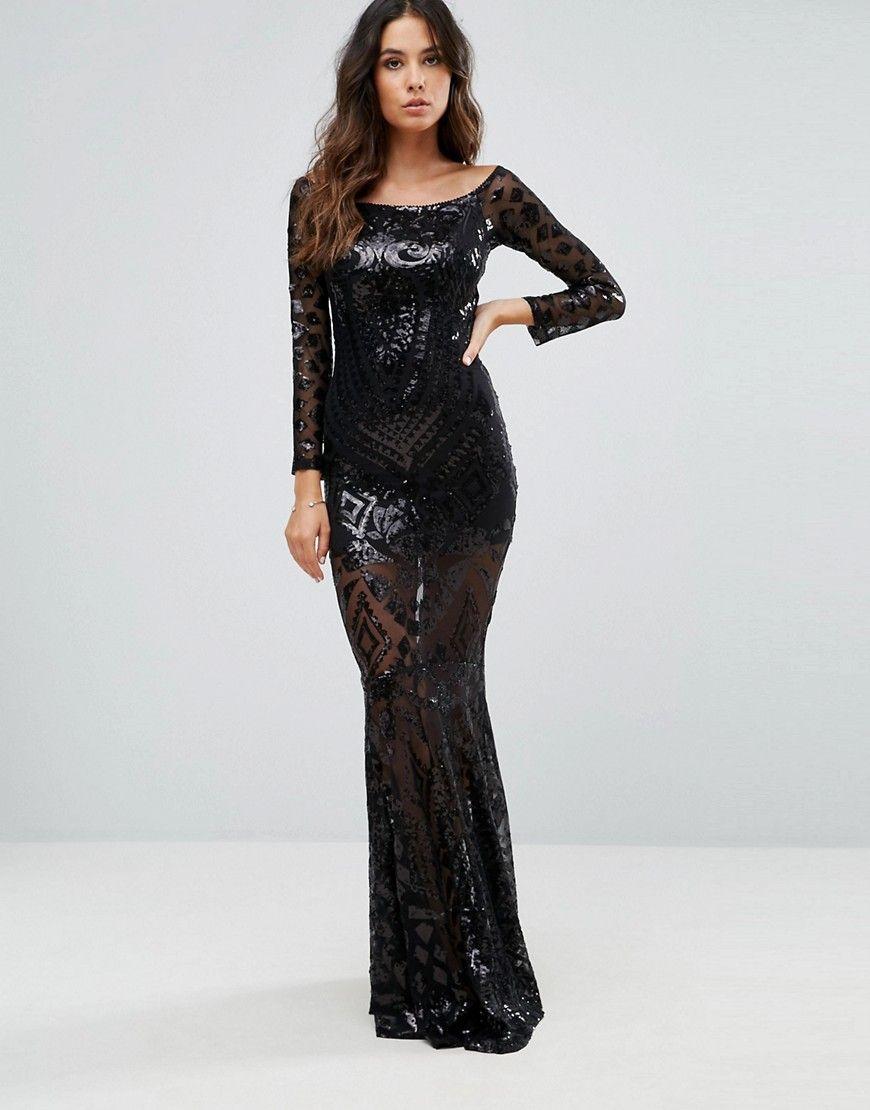 Club L Bardot Patterned Detail Sequin Maxi Dress - Black