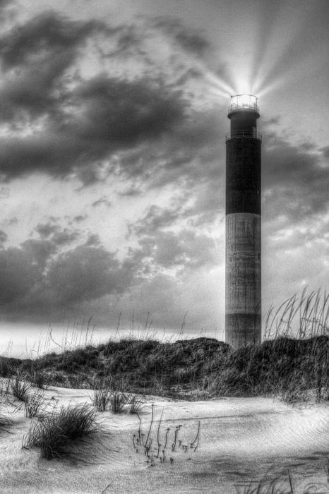black and white, bw, b and w, oak island, island, oak, lighthouse, light house, sunset, sunrise, clouds, blue, orand, beach, sand, dunes, atlantic, seascape, sea, scape, surf, caswell beach wilmington nc, wilmington north carolina, lighthouses, oak island lighthouse, wilmington, sunrises, sunsets, sand dune, sand dunes, atlantic seaboard, seascapes, coast guard, uscg, morning, mornings,
