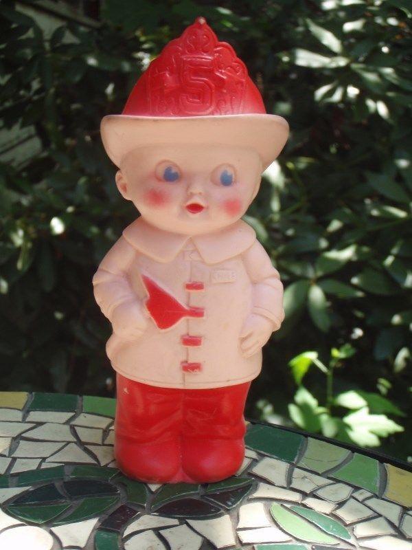 Vintage 1960 Sun Rubber Baby Boy Company 5 Fireman Firefighter