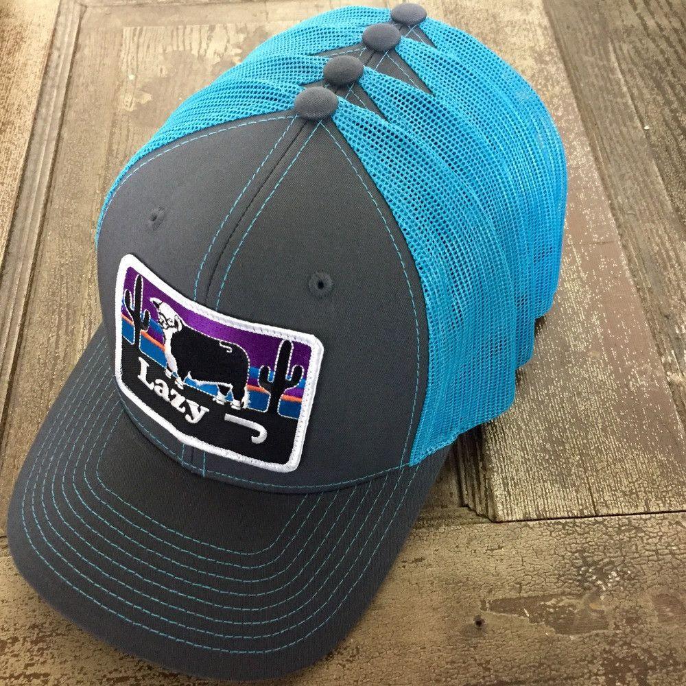 533b229b Neon Blue Lazy J Sunset Hat | Hats | Hats, Dope hats, Cowboy hats