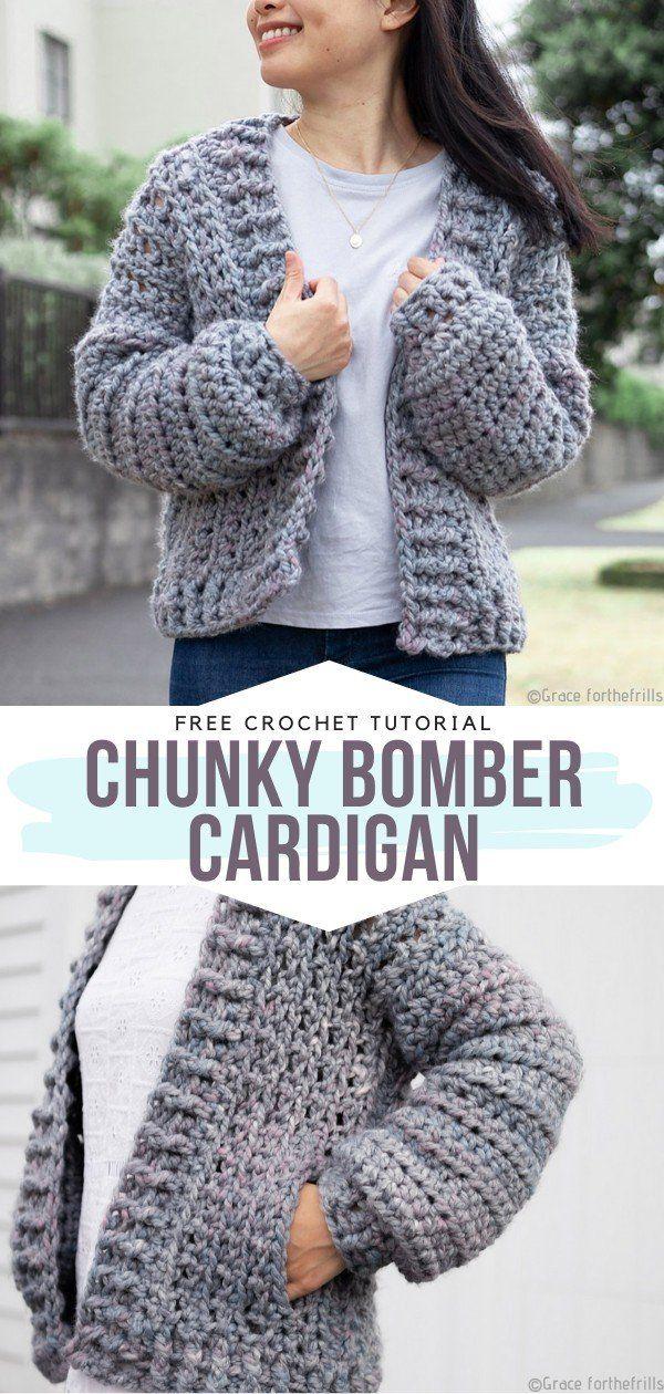 How to Crochet Chunky Bomber Cardigan