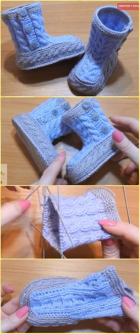 Knit Cabled Baby Booties Free Pattern Video - Knit Slippers Booties ...