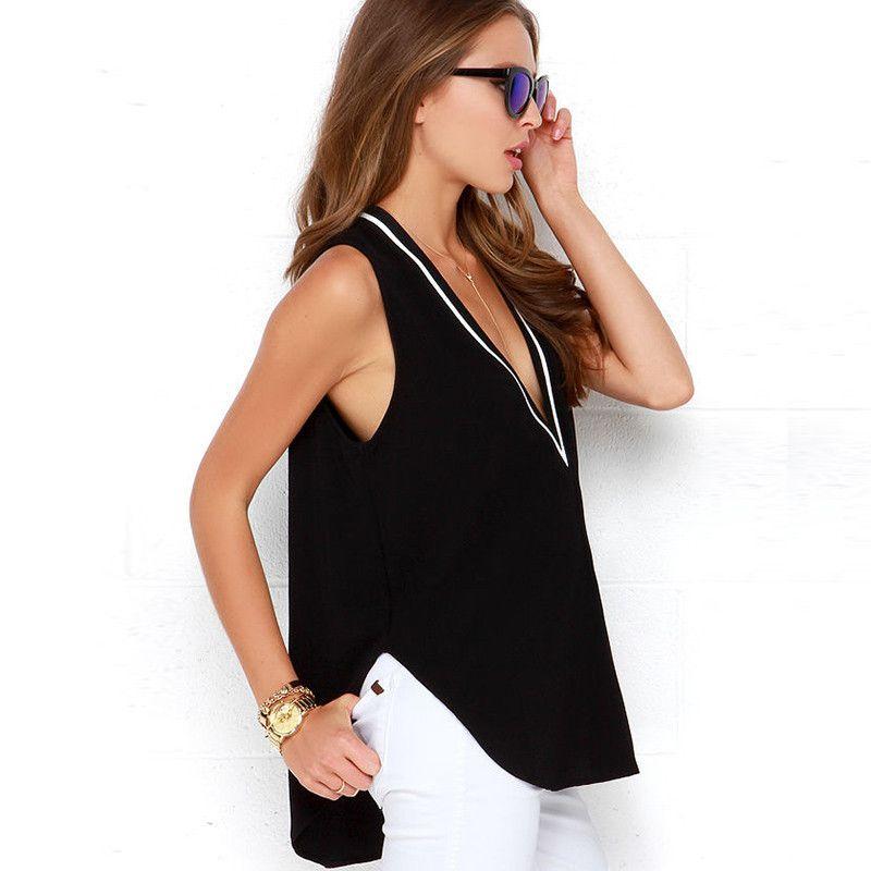 e47fb0174ee7 New 2017 V-neck Blouse Camisas Blusas Femininas sexy loose sleeveless lager  size shirt women Summer shirt lady black white tops  Affiliate