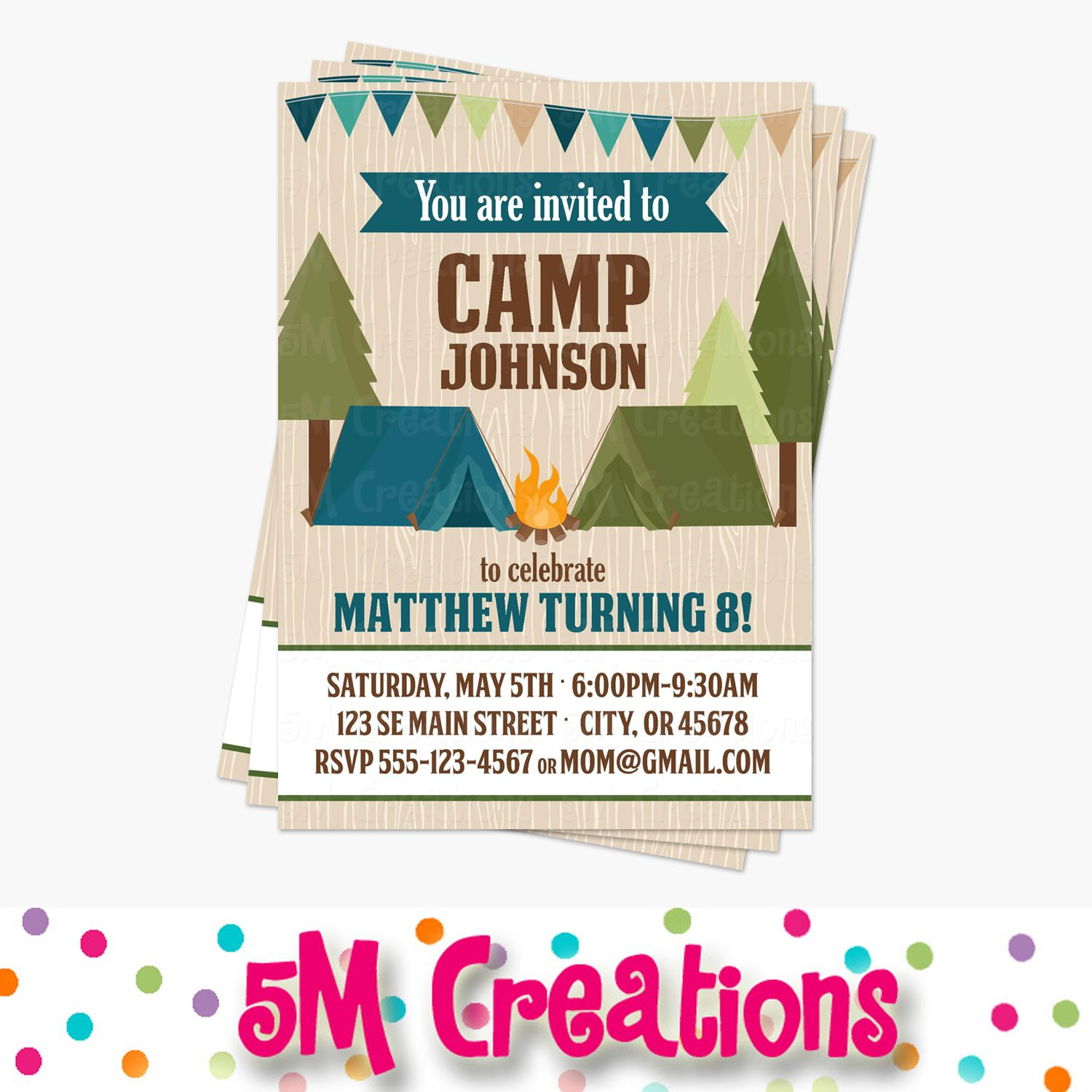 Camping Birthday Party Invitation Printable Invite Twins Camping