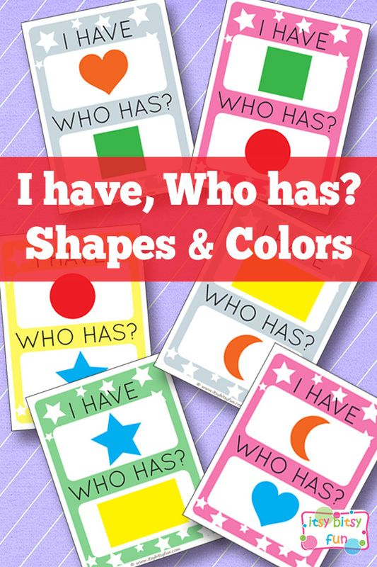 I Have Who Has Shapes And Colors Crafts Activities For Kids
