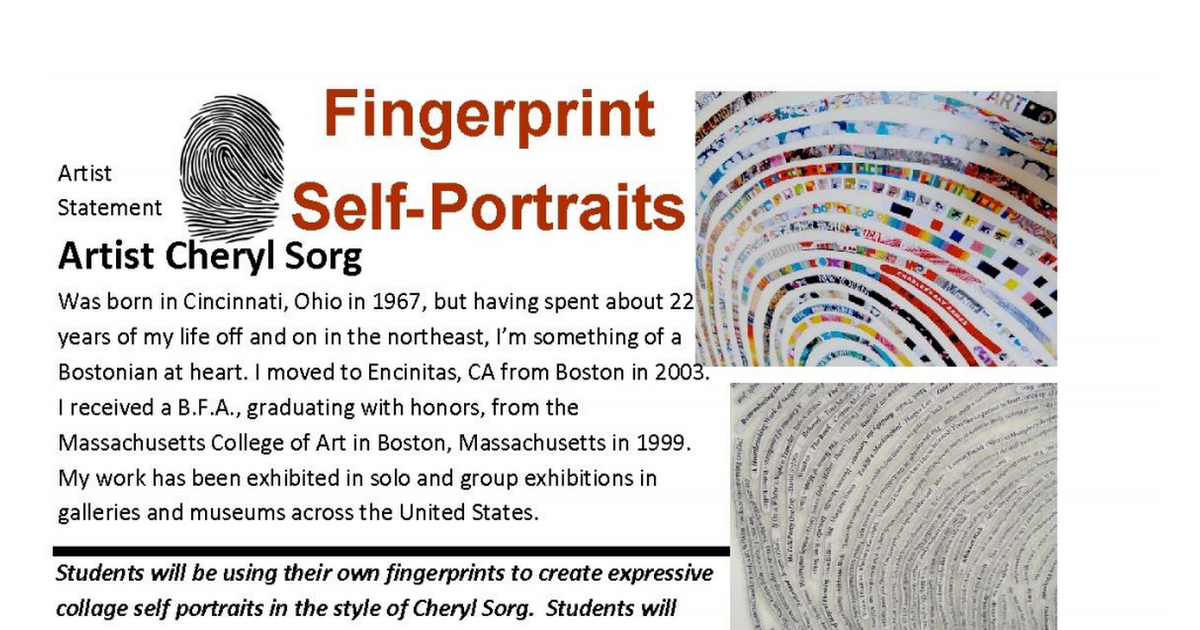thumprint rubric.pdf Artist statement, Self portrait