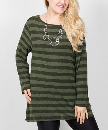 Look what I found on #zulily! Olive & Gray Stripe Boatneck Swing Tunic - Plus #zulilyfinds