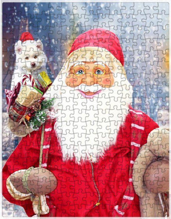American Eskimo Dog Christmas Jigsaw Puzzle with Photo Tin