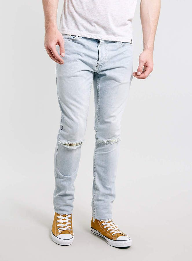 Mens Light Blue Skinny Jeans - Xtellar Jeans