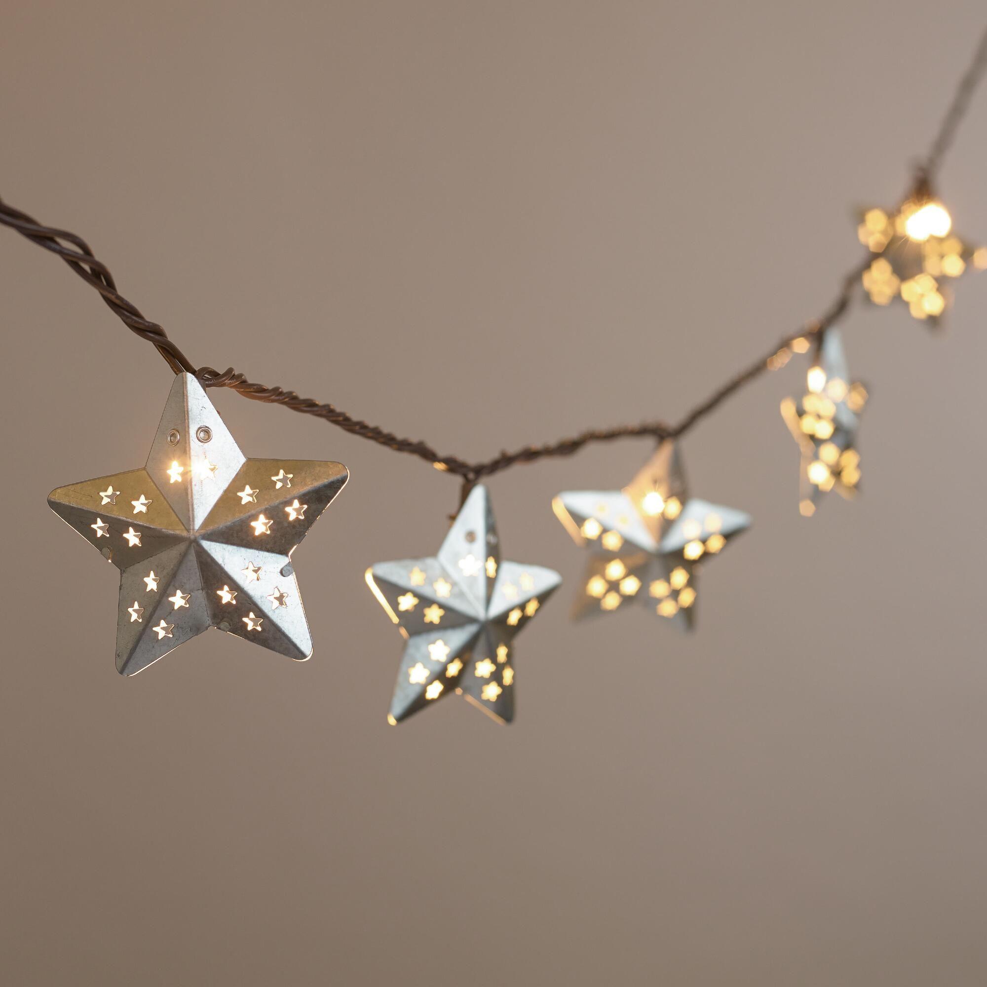 Uncategorized String Lights Stars galvanized metal stars 10 bulb string lights star lights