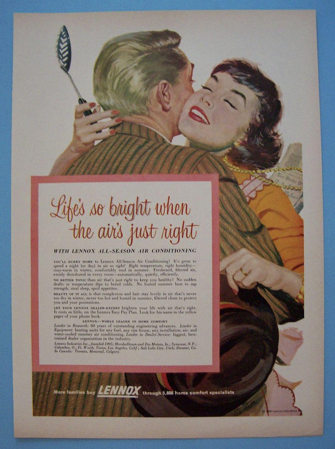 Vintage Ad 1956 Lennox AllSeason Air Conditioning