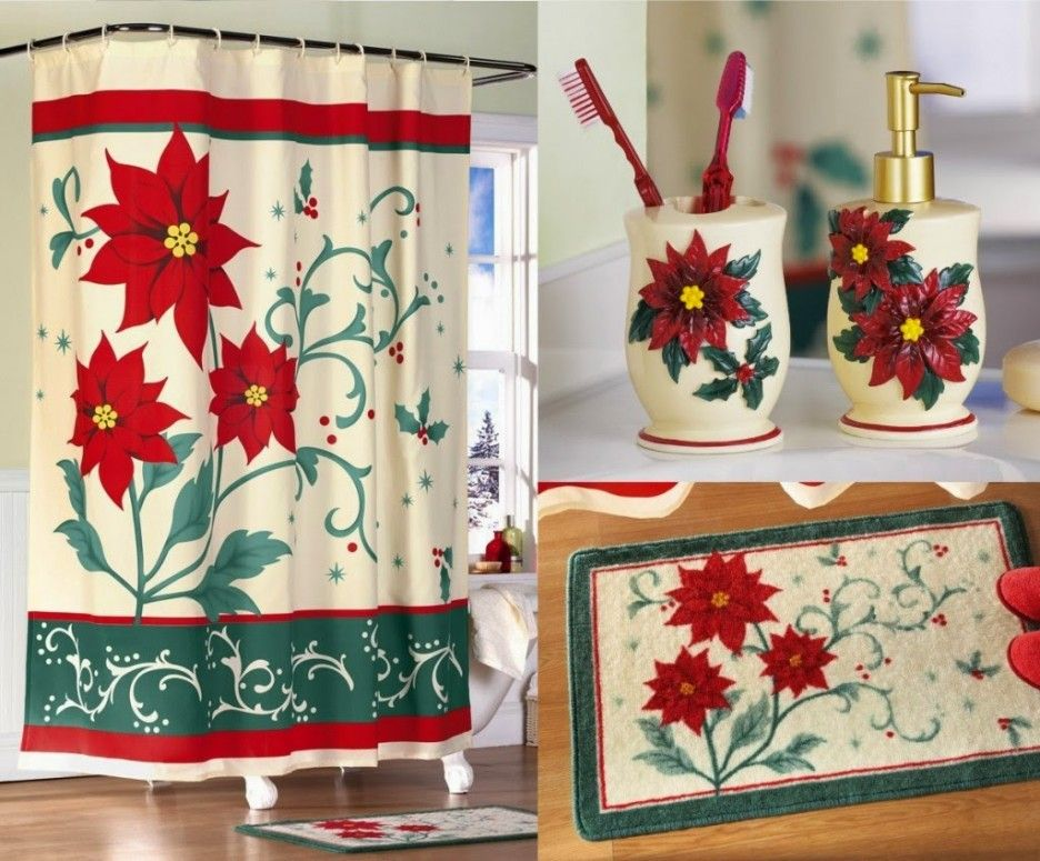 poinsettia themed christmas bathroom decor and accessories set