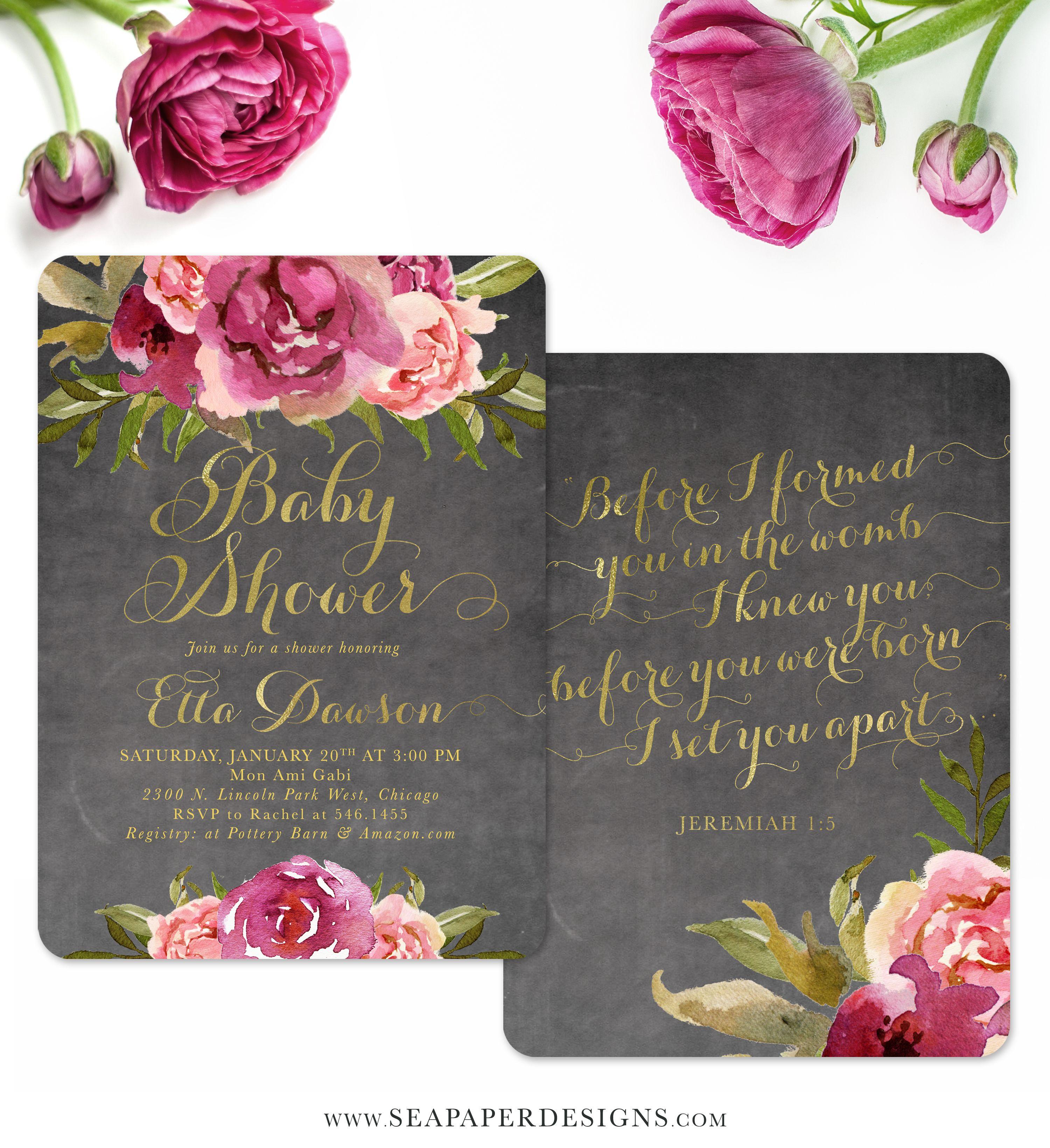 Etta: Baby Shower Invitation {Merlot & Blush Pink & Gold Chalkboard ...