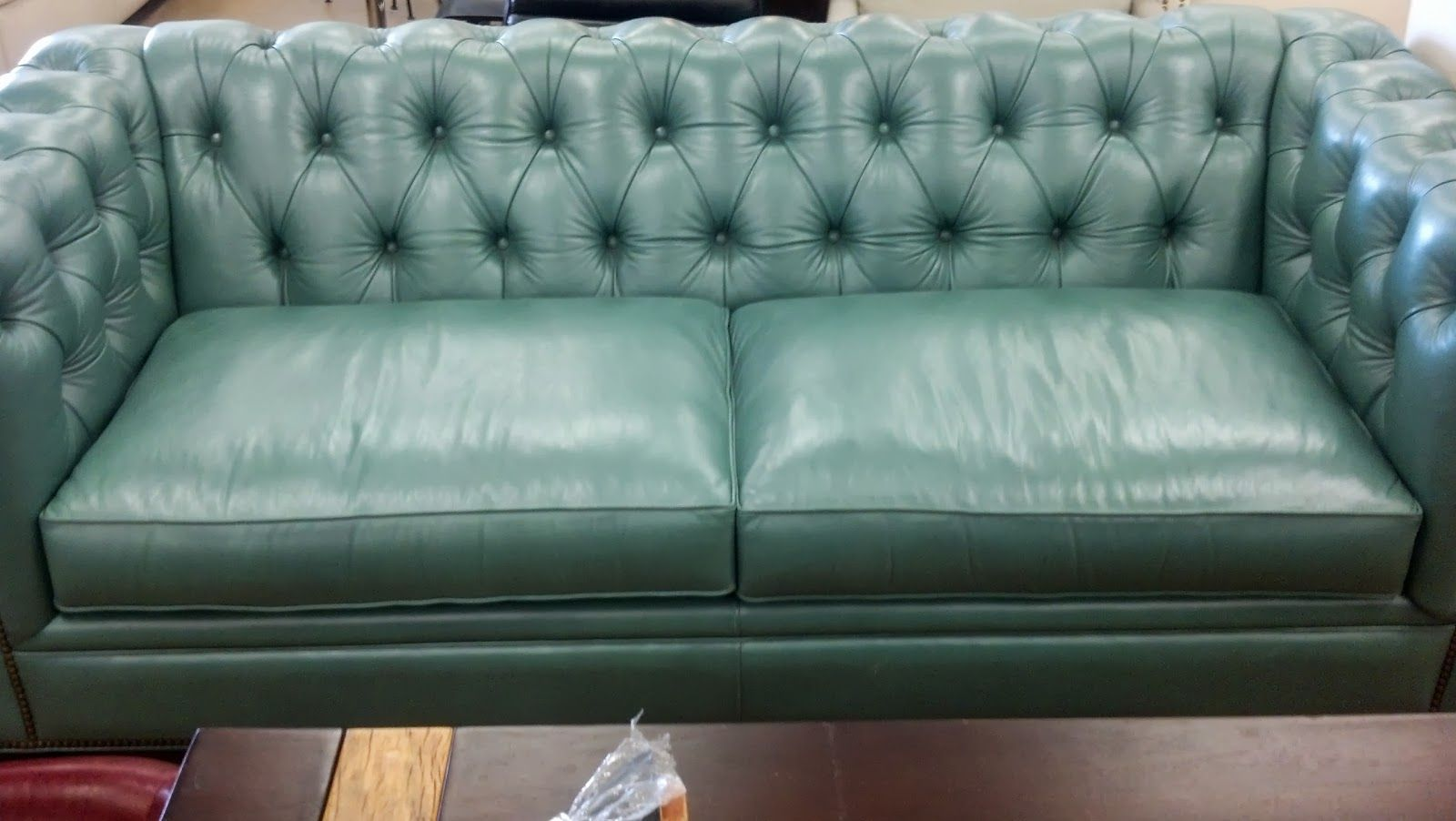 The Burban Cookie Tufted Aqua Leather Chesterfield Sofa Houston High Fashion Home 1 7k