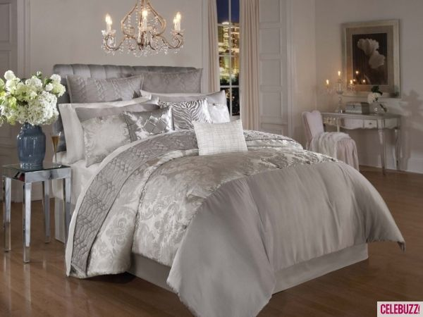 Bedroom Astonishing Hollywood Glam Bedding Set With Pendant Lamps And  Laminating Natural Wooden Floor Design Personable