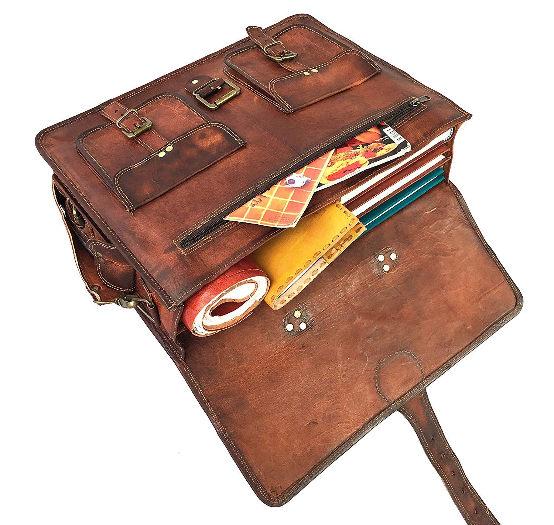 Amazon.com  DHK 18 Inch Vintage Handmade Leather Messenger Bag for Laptop  Briefcase Best Computer Satchel School distressed Bag  Computers    Accessories c8275fb525d65