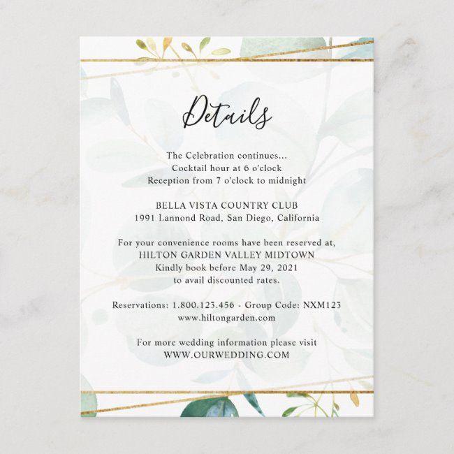 A Vintage Diy Rustic Wedding On A Ranch In California: Greenery Eucalyptus Guest Information Details Enclosure