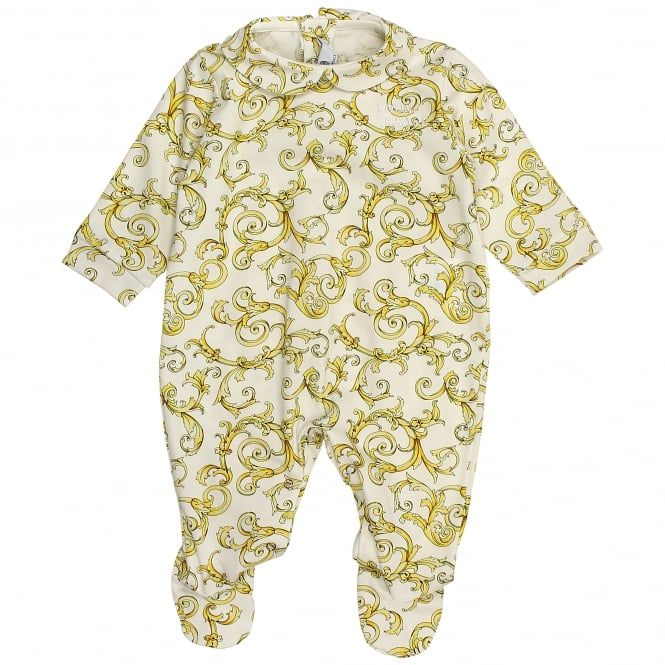 0785f141 Young Versace baby boys and girls white and gold romper. #versace  #youngversace #romper