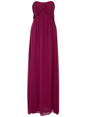 Wine ruched bandeau maxi