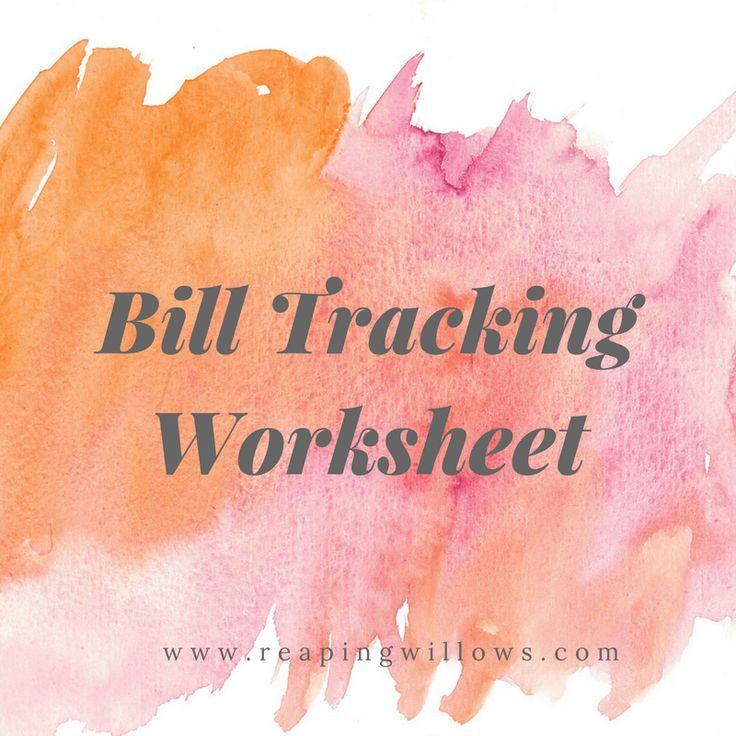 bill tracking worksheet personal finance budgeting pinterest