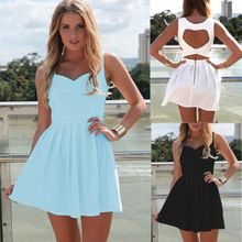 New 2014 Summer Sexy Heart Open Cut Out Back Backless Cocktail Party Mini Dress White/Light Blue/Black(China (Mainland))
