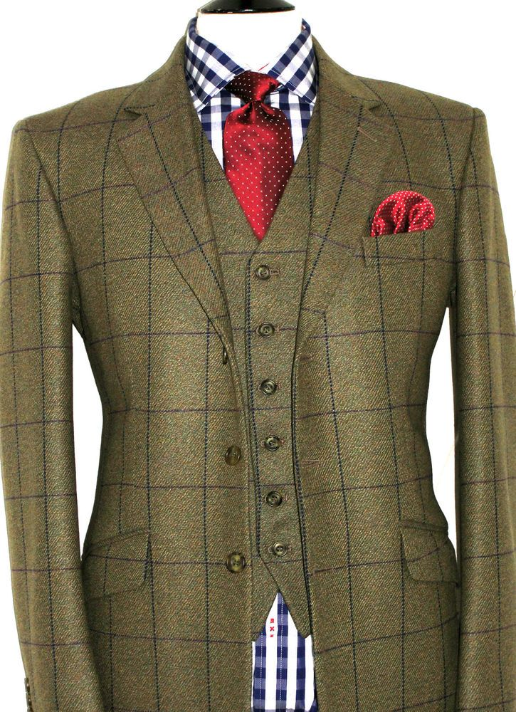NEW MENS GIEVES & HAWKES SAVILE ROW BESPOKE TWEED SHOOTING 3 PIECE SUIT 40R W34 #GIEVESHAWKES #SingleBreastedSuit