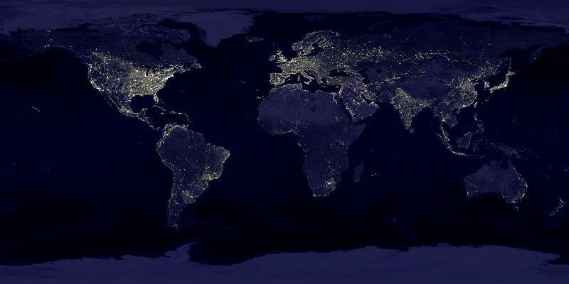 Earth at Night - Credit: C. Mayhew & R. Simmon (NASA/GSFC), NOAA/NGDC, DMSP Digital Archive.