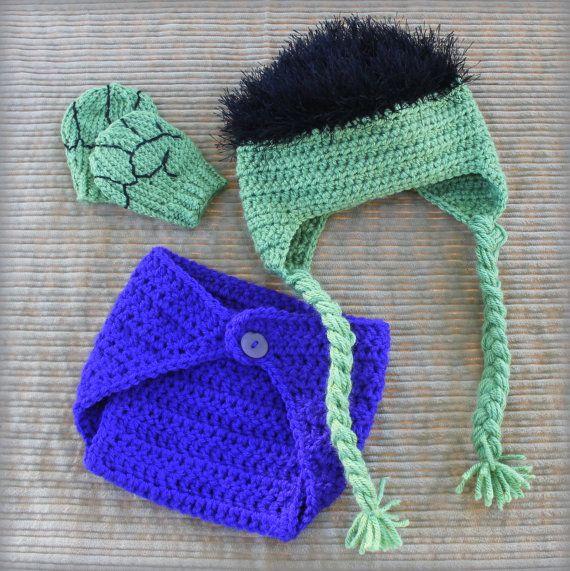 Incredible Hulk baby hat set// Hulk \