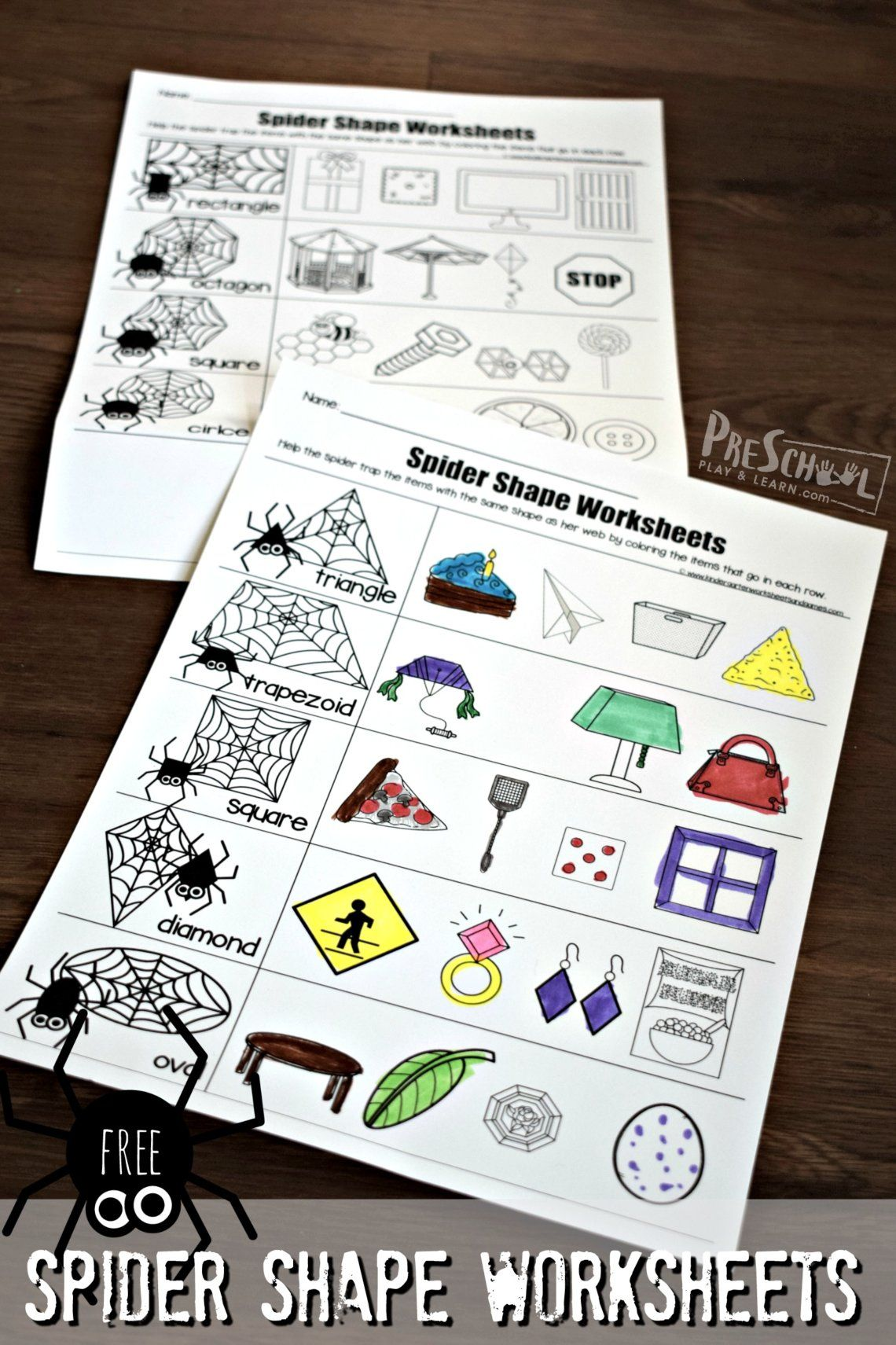 Free Spider Shape Worksheets