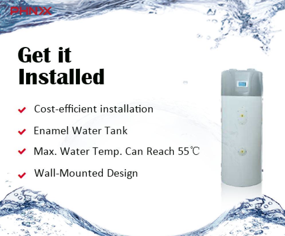 Phnix Wall Mounted Heat Pump Water Heater Your Ideal Choice For Hot Water At Your Home Cost Efficient Installatio In 2020 Heat Pump Water Heater Water Tank Heat Pump