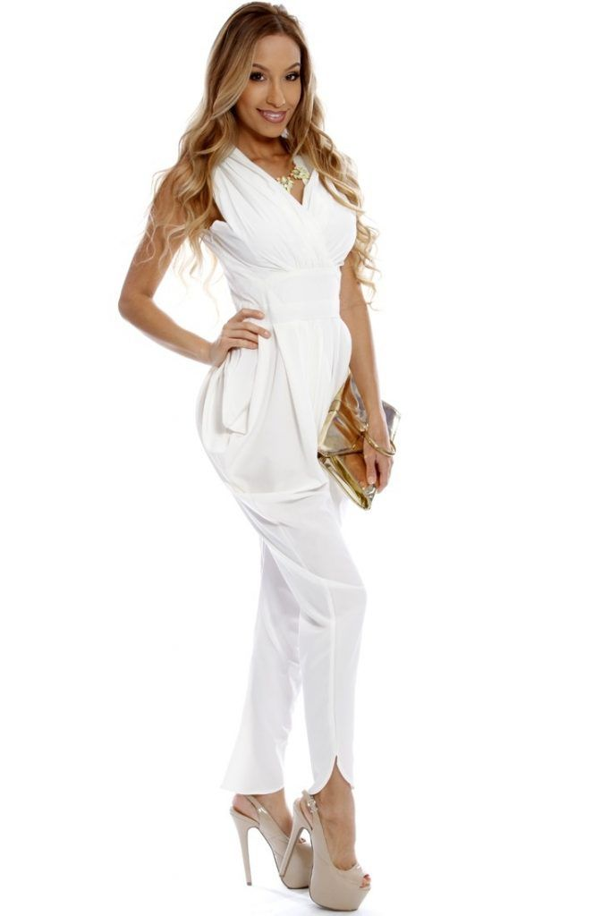 a763cc60ec3 White Draped Sides Dressy Jumpsuit Dressy Jumpsuits