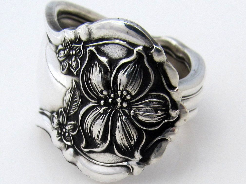Silver Spoon Ring Size 8 Orange Blossom Pattern Art Nouveau.
