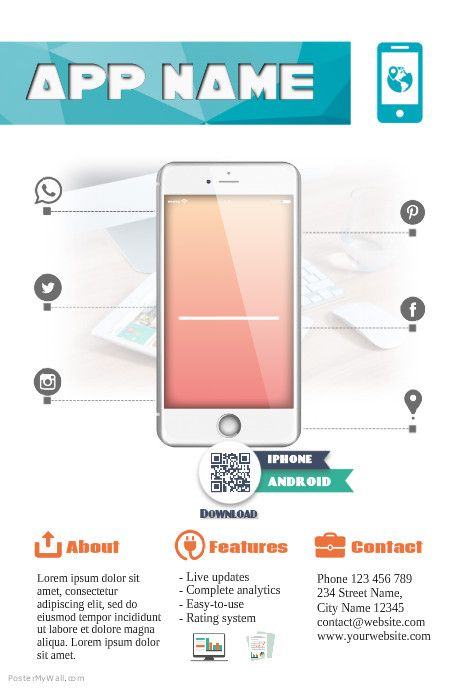 Mobile app promotion flyer template    wwwpostermywall - new world map software download for mobile