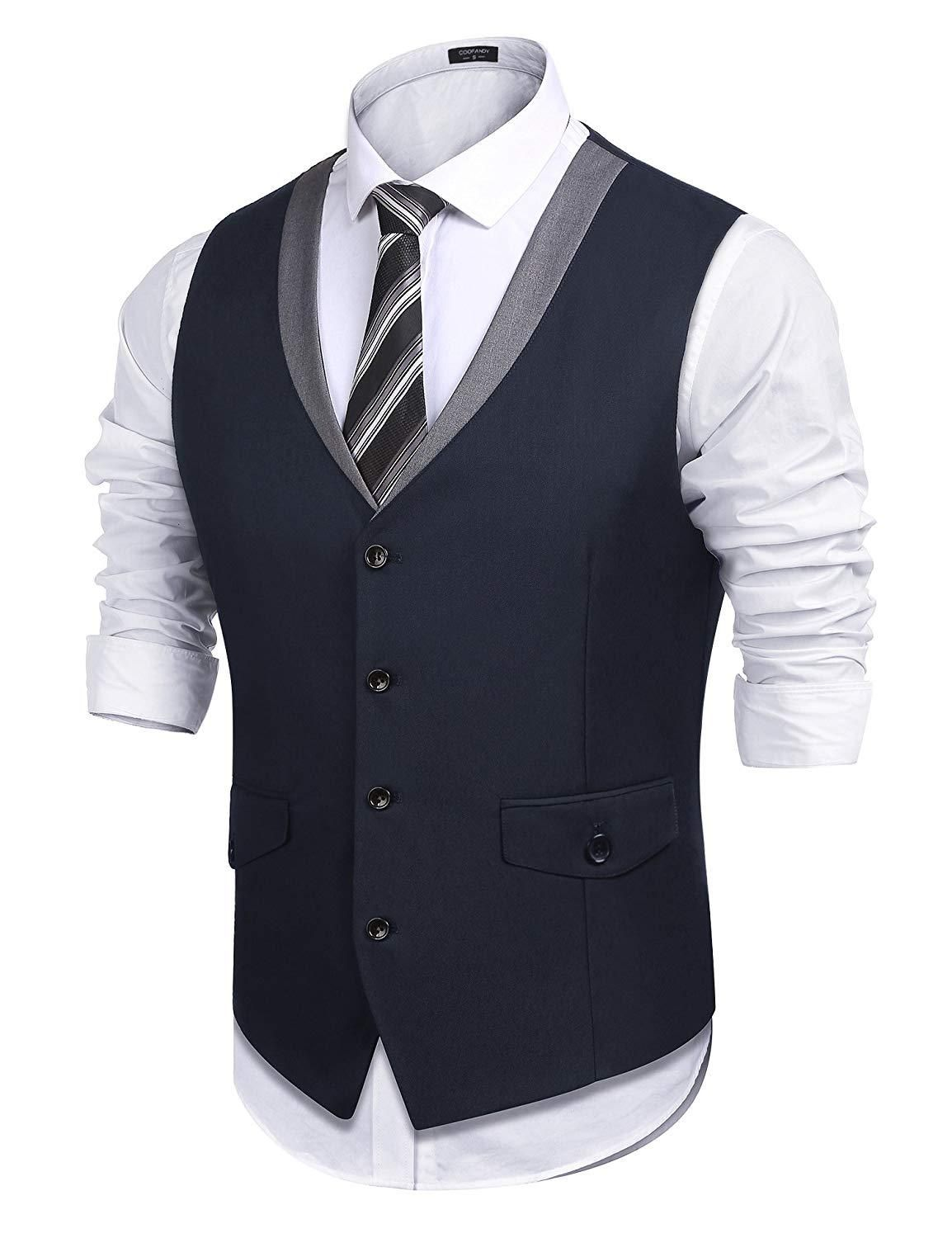 25b3a0c5b0b COOFANDY Men's V-Neck Sleeveless Slim Fit Vest,Jacket Business Suit ...