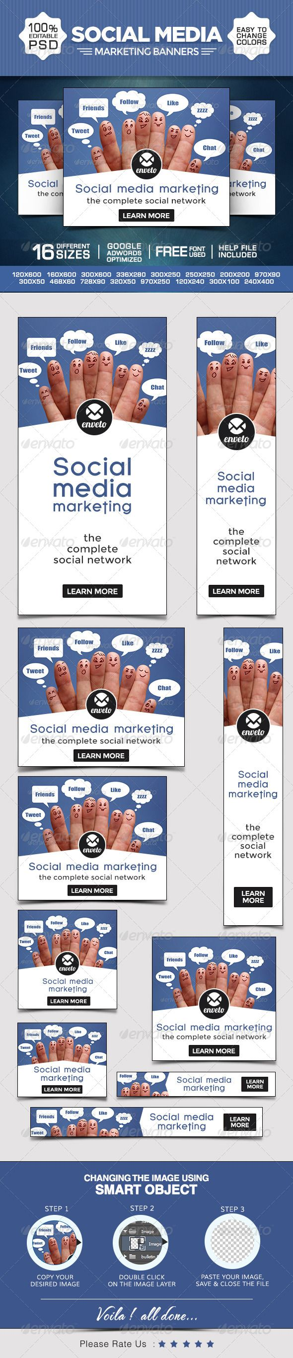 Social Media Marketing Banners Template PSD | Buy and Download: http://graphicriver.net/item/social-media-marketing-banners/8586013?WT.ac=category_thumb&WT.z_author=doto&ref=ksioks
