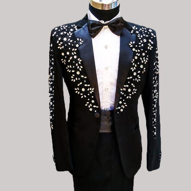 Black Quality Crystals Beaded Women/'s Long Sleeve Jacket Coat Zipper Top Clothes