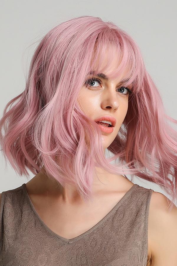 Medium Bob Synthetic Hair Wavy Wig With Bangs 12 Inches Grey Hair On Dark Skin Lavender Hair Wig Hairstyles