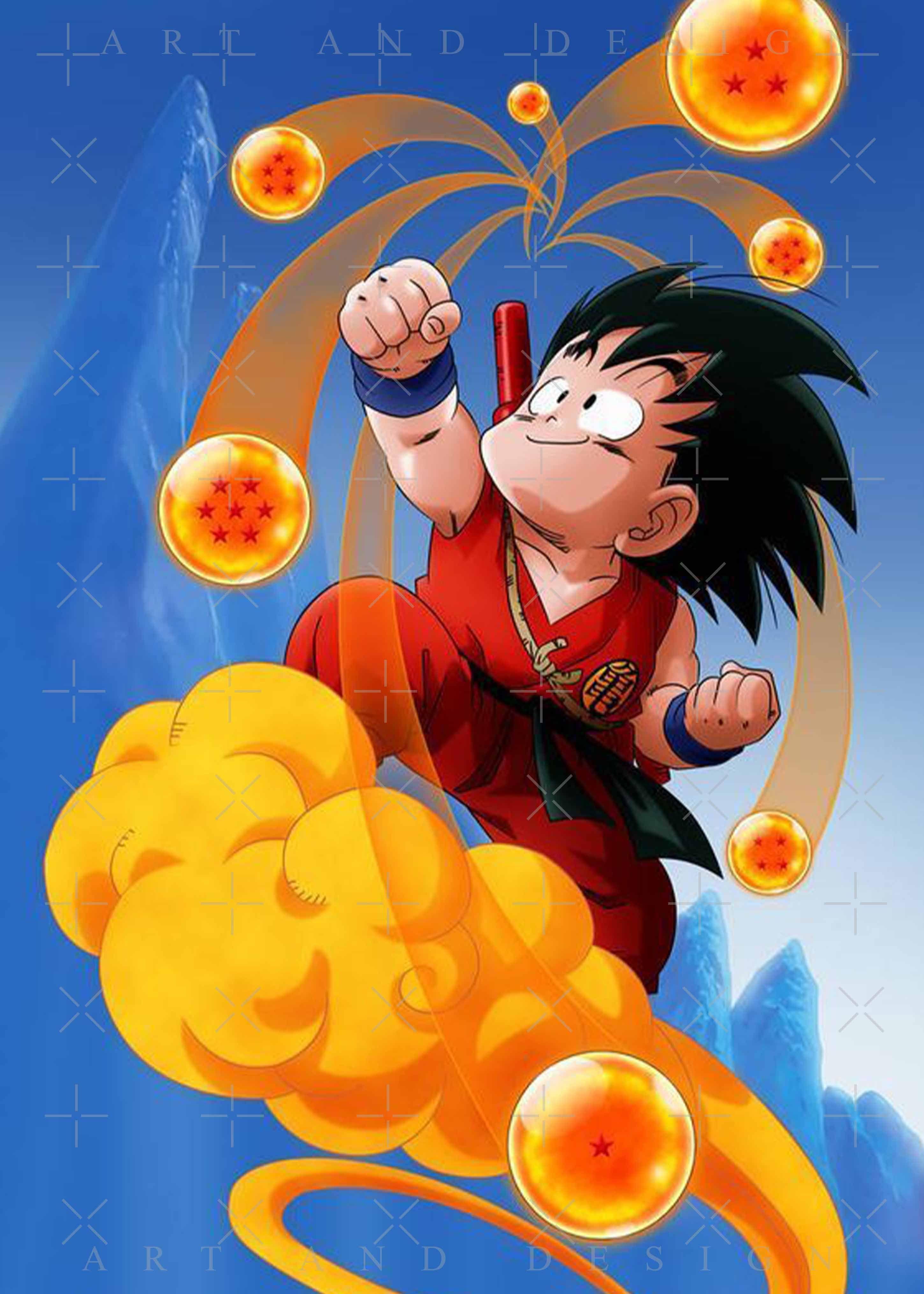 Son goku kid nimbus Dragon Ball Metal Print