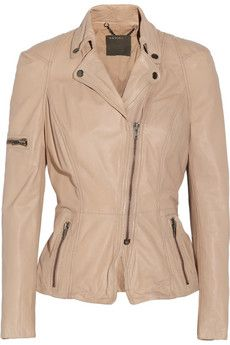 Brown Nude Muubaa Lyra leather and cotton-jersey biker jacket | THE OUTNET $285 CUTE