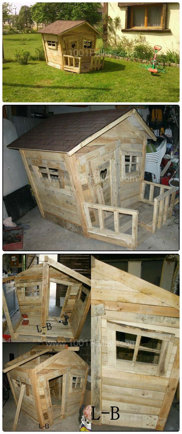 la cabane des enfants pallet kid 39 s hut recycled pallets ideas projects pinterest kids. Black Bedroom Furniture Sets. Home Design Ideas