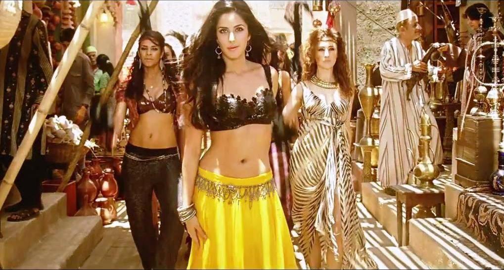 Katrina Kaif Song Mashalla Movie Ek Tha Tiger Yellow Maxi Skirt And Black Cropped Top Moroccan Sty Ek Tha Tiger Bollywood Dance Costumes Katrina Kaif