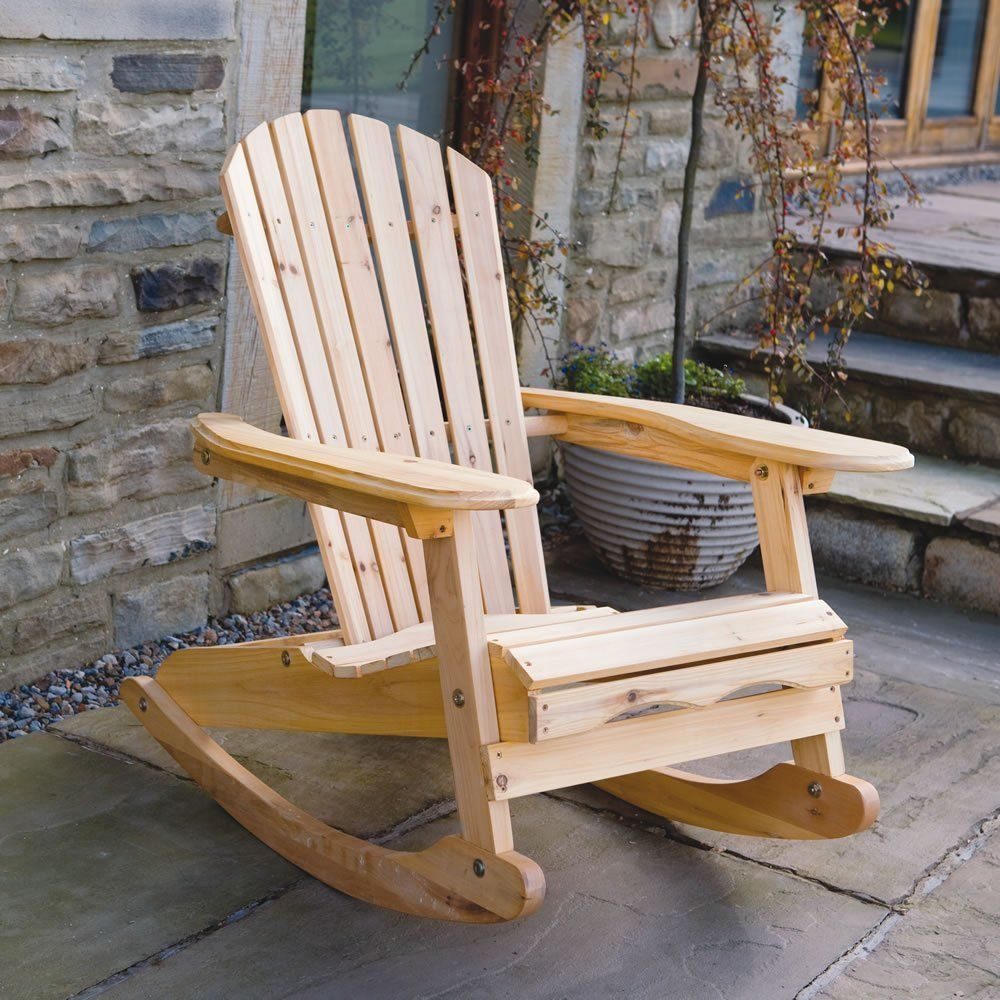 Trueshopping Bowland Rocking Chair Adirondack Style Natural Wood Finish Perfect For Ind Wooden Garden Chairs Wooden Rocking Chairs Outdoor Rocking Chairs
