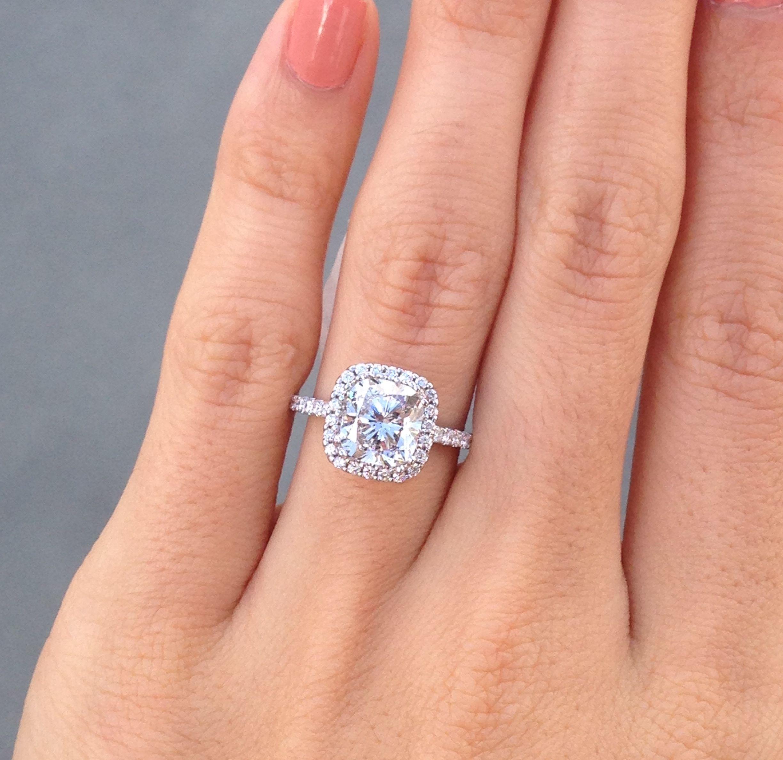 Cushion Halo Engagement Ring, 25ct Cushion Engagement Ring, Small Diamond  Halo…