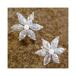 Sterling Silver 'Snow Blossom' Flower Earrings | $59.99 #Jewelry #Shine #Sparkle #Bling | Visit WISHCLOUDS.COM for more…