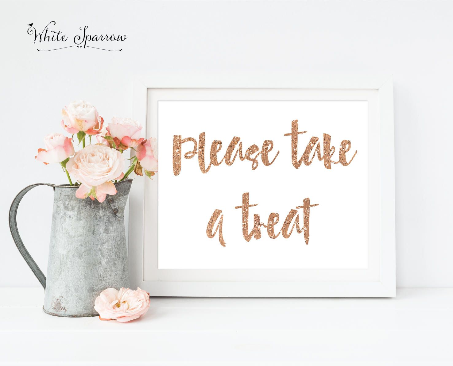 Rose Gold Bridal Shower. Please take a treat. Bridal shower signs ...