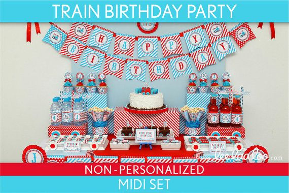 Train Birthday Party Package Collection Set Midi NonPersonalized Printable  Vintage Train B30Nz2