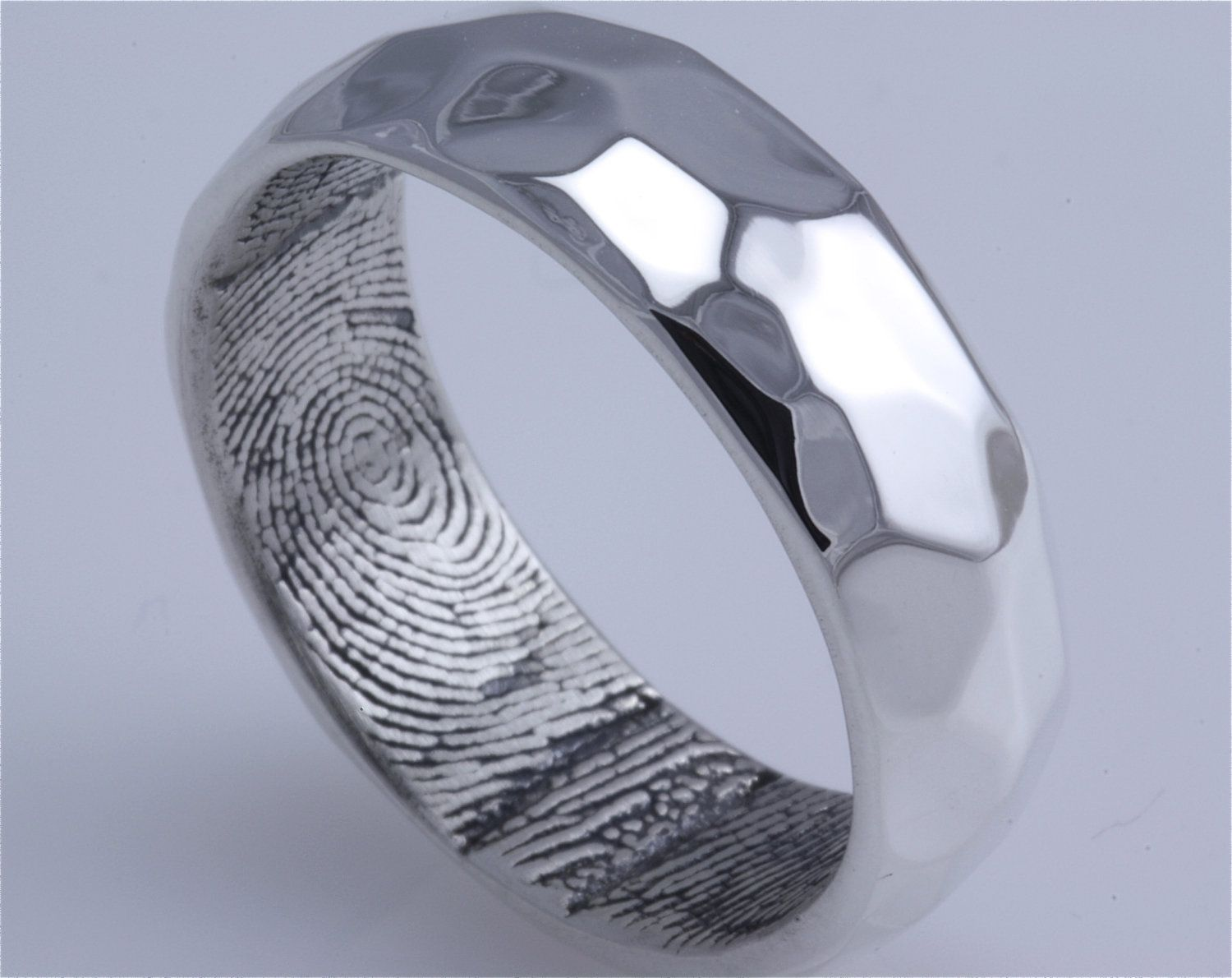 Sterling Silver Hammered Surface Custom Band with Fingerprint